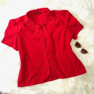 True Vintage Southern Lady Red Short Sleeve Blouse